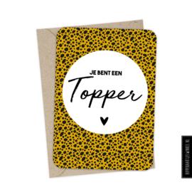 """Wenskaart enkel """"Topper"""" per 5 stuks"""