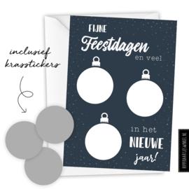 Kerstkaart kraskaart DIY inclusief envelop - per 5 stuks blauw/ zilver