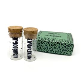 Haarlokje en Melktandjes buisjes in cadeauverpakking Groen - per 3 sets