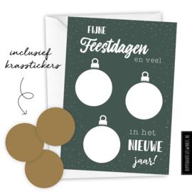 Kerstkaart kraskaart DIY  inclusief envelop - per 5 stuks groen/ goud
