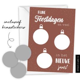 Kerstkaart kraskaart DIY inclusief envelop - per 5 stuks brique/ zilver