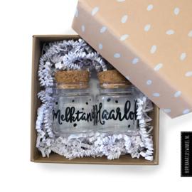 Haarlokje en melktandjes POTJES in cadeauverpakking poederroze - per 3 sets
