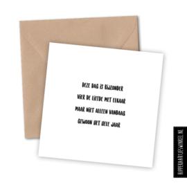 Wenskaart enkel met kraft envelop 'Liefde' per 5 stuks