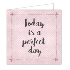 """Wenskaarten met witte envelop """"Perfect day"""" 5 stuks"""