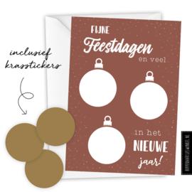 Kerstkaart kraskaart DIY inclusief envelop - per 5 stuks brique/ goud