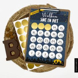 Aftelkalender 'Sinterklaas' met klembord per 3