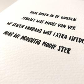 """Wenskaart enkel """"Ster"""" per 5 stuks"""