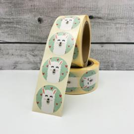 Stickers 'alpaca' op rol 500 stuks
