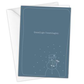 Kerstkaart 'Sneeuwpop' inclusief envelop per 5 stuks