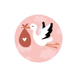 Stickers 'ooievaar' roze op rol 500 stuks