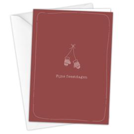 Kerstkaart 'Wanten' inclusief envelop per 5 stuks
