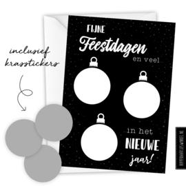 Kerstkaart kraskaart DIY inclusief envelop - per 5 stuks zwart/ zilver