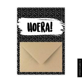 """Geldkaarten """"hoera"""" zwartwit - per 5 stuks"""