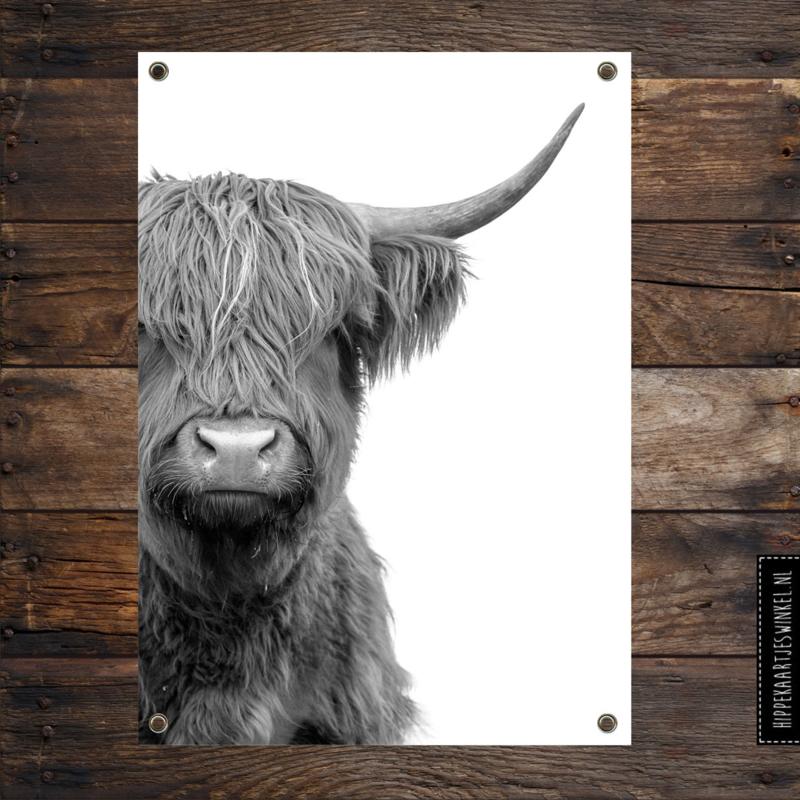 Tuinposter XL 'Hooglander' Zwart/ wit per 2 stuks
