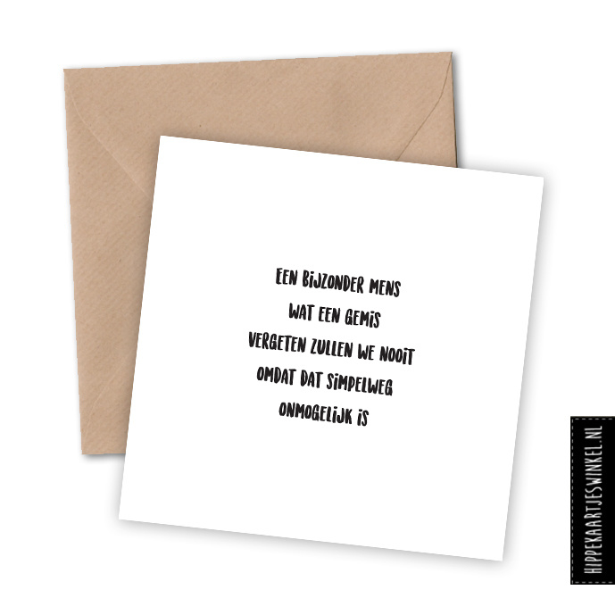 """Wenskaart enkel """"Bijzonder mens"""" per 5 stuks"""