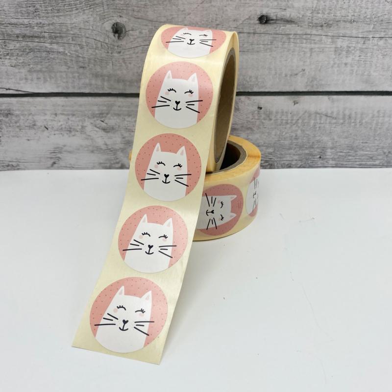 Stickers 'Poesje' op rol 500 stuks