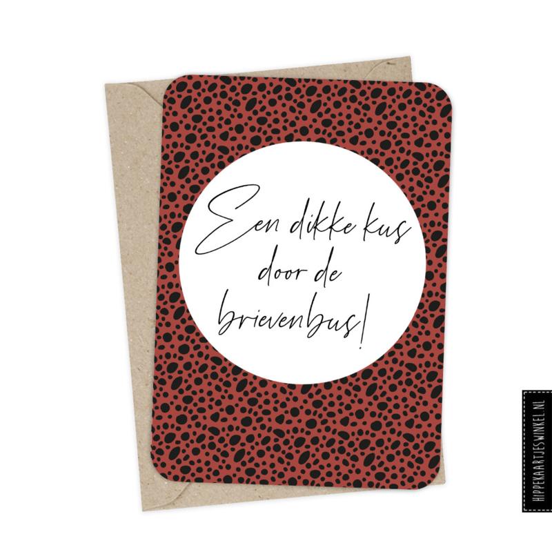 """Wenskaart enkel """"Kus door de brievenbus"""" per 5 stuks"""