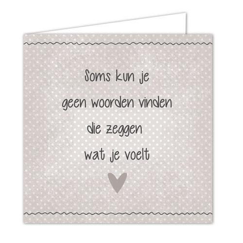 """Wenskaarten met envelop """"geen woorden vinden"""" 5 stuks"""