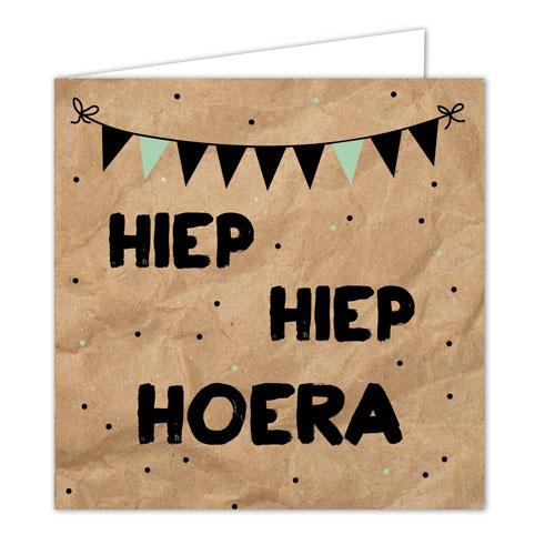 """Wenskaarten met envelop """"Hoera"""" 5 stuks"""