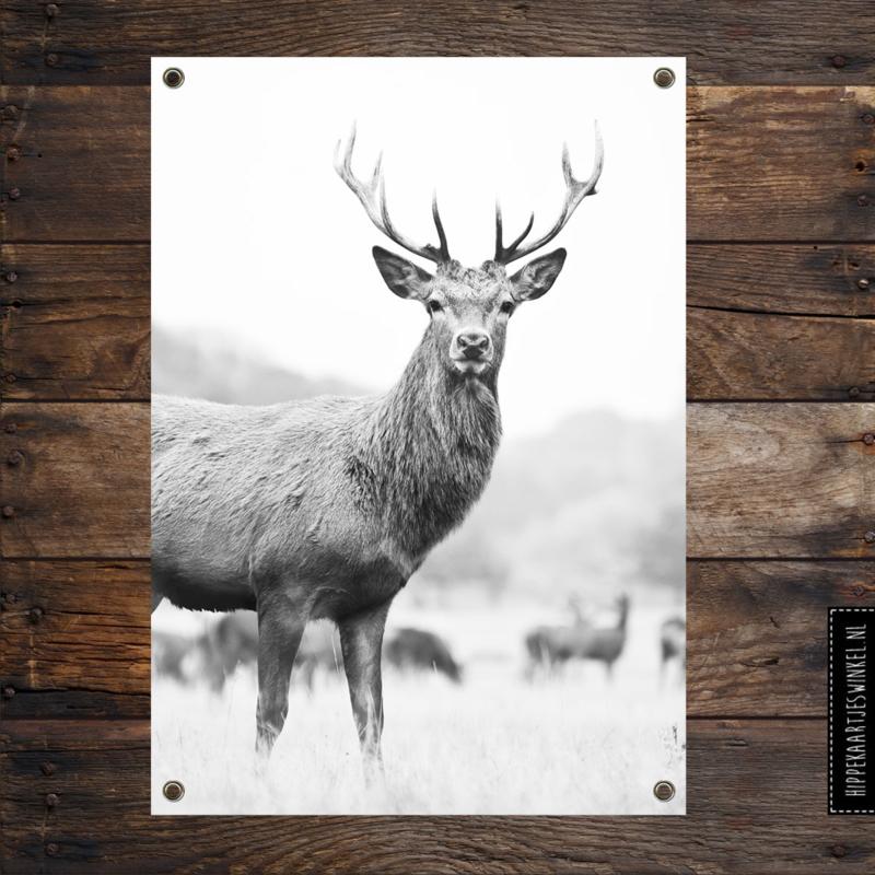 Tuinposter XL 'Hert' Zwart/ wit per 2 stuks
