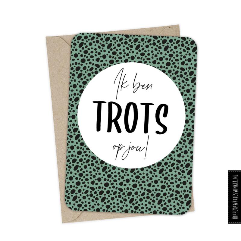 Wenskaart enkel met kraft envelop 'Trots' per 5 stuks