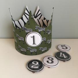 """Verjaardagskroon """"Zebra's green/monochrome lines"""""""