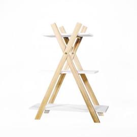Presentatierekje  3 verdiepen hout wit