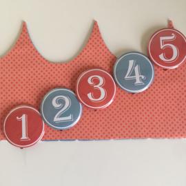 """Verjaardagskroon """"Flamingo's jeans/coral dots"""""""