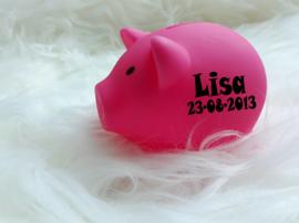 Spaarvarken roze met geboortegegevens