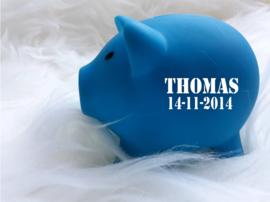 Spaarvarken blauw met geboortegegevens