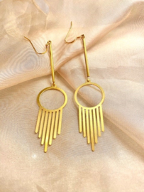 Long brass earrings
