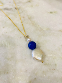 Blue agate pearl necklace