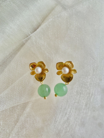 Pearl and jade earrings