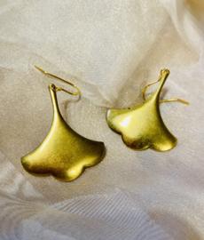 Solid ginko brass  earrings