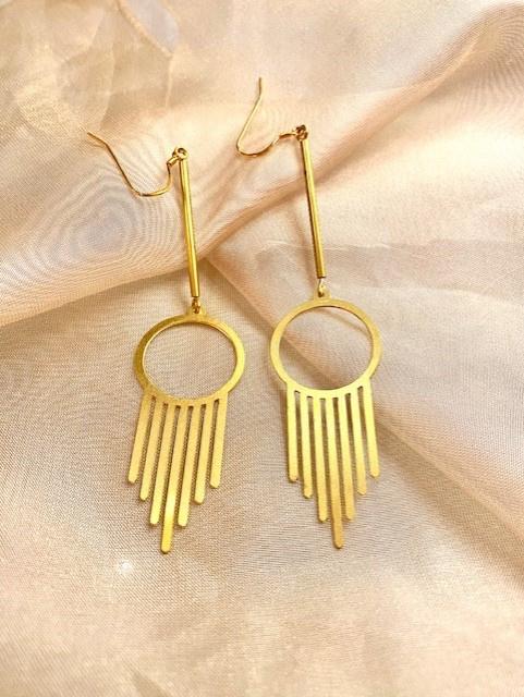 Long brass earrings
