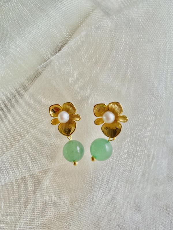 Pearl and jade earrings