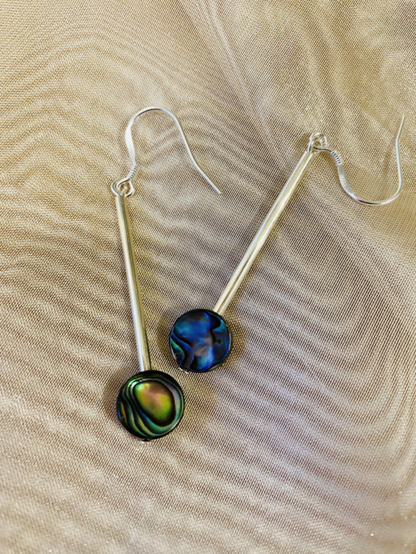 Silver abalone  earrings