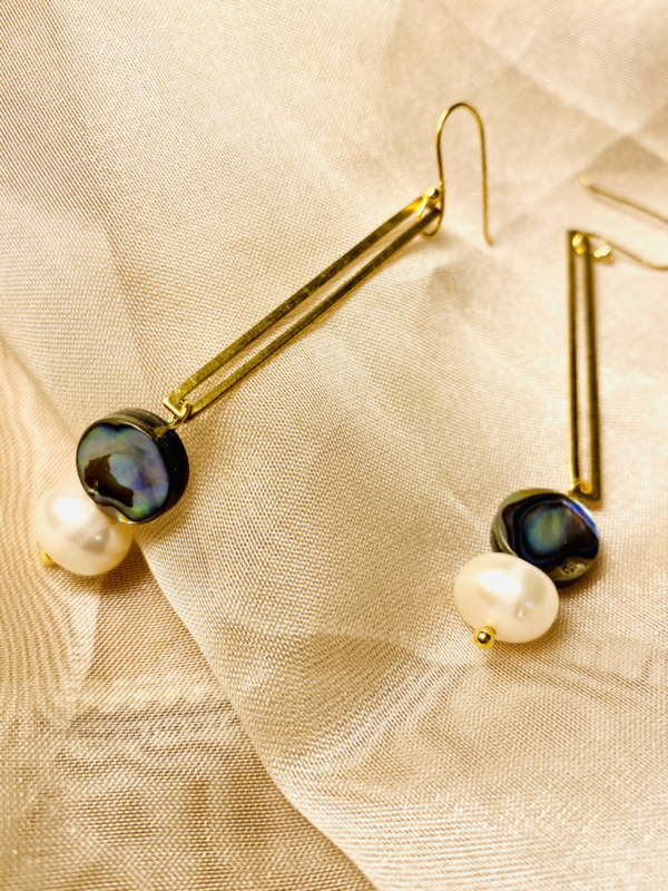 Abolone and pearl earrings