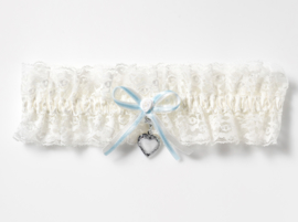 White lace garter with blue bow and medaillion for 2 photos
