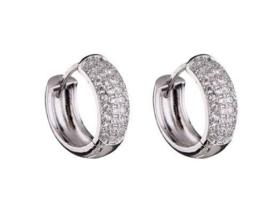 round earrings with zirconia
