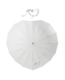 Paraplu voor bruid en bruidegom