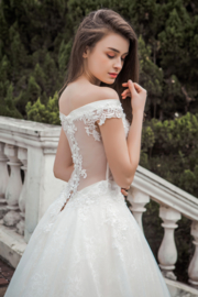 Jasmine: Contemporary dress with off shoulders, translucent back with lace applications and beautiful skirt. Price: € 1.150