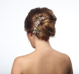 Livy: hair comb with rhinestones and porcelain flowers