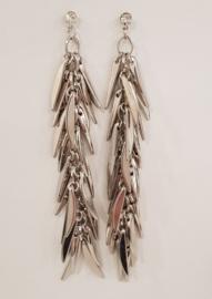 Long silver-colored earrings