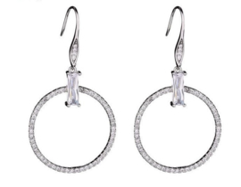Earrings with zirconia. 5-6 cm