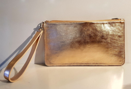 Goldie: gold colored leather clutch