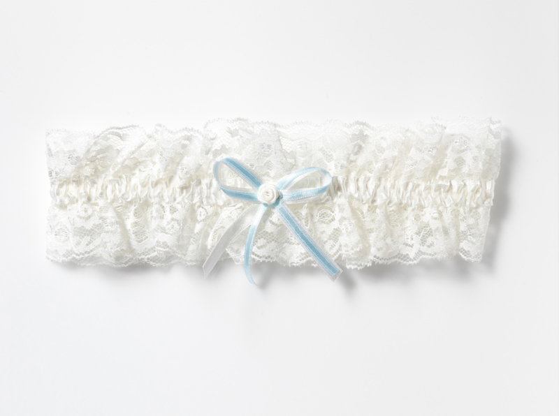 White lace garter with blue bow