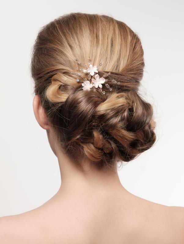 BB-267, goudkleurige haarpin met porseleinen bloemetjes