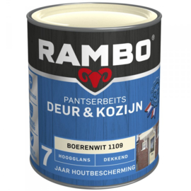 Rambo Pantserbeits Deur & Kozijn Dekkend Zijdeglans - Ivoorwit 1101 - 0,75 liter