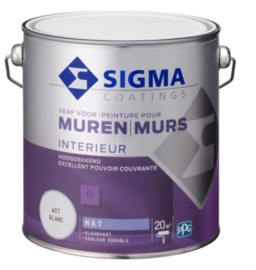 Sigma Muurverf Mat - RAL 9010 puur wit - 2,5 liter